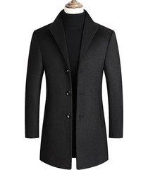 chaqueta abrigo larga hombre lana casual sa837 negro
