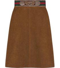 gucci horsebit suede midi skirt - brown