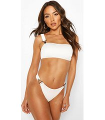 ribbed button snap bandeau bikini, white