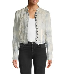 free people women's cassie pinstriped cotton jacket - bleached blue - size xl