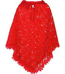 bambah lace crochet poncho - red