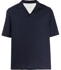 officine generale open-collar seersucker polo shirt - blue
