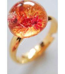 pierścionek z kwiatami, żywica