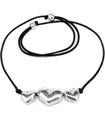 collar de mujer plateado corto 3 coeur bombe' by vestopazzo