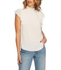 1.state flutter sleeve smocked neck blouse, size xx-large in soft ecru at nordstrom