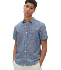 camisa lino blend manga corta hombre azul gap