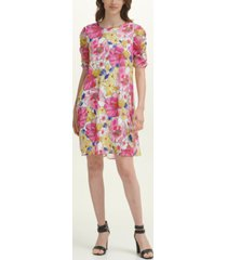 dkny ruched-sleeve shift dress