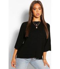 lichte trui met stiksels, zwart