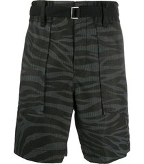 sacai animal print shorts - black