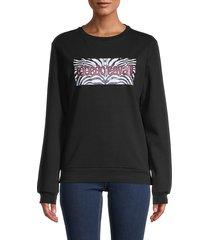 roberto cavalli women's logo sweatshirt - black - size xl