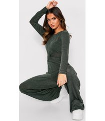 twist front lounge jumpsuit, khaki