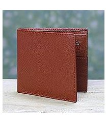 men's leather wallet, 'russet minimalist' (india)