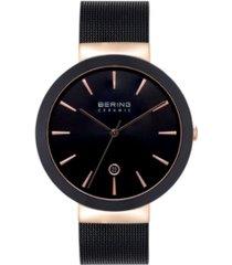bering women's ceramic black stainless steel mesh bracelet watch 40mm