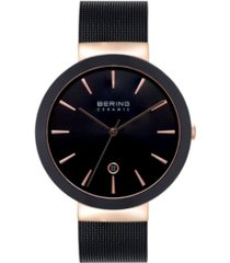 bering women's ceramic black stainless steel mesh bracelet watch 40mm