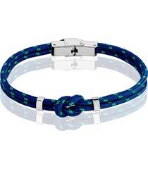 bracciale nodo blu e verde in corda e acciaio per uomo