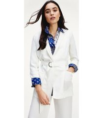tommy hilfiger women's relaxed fit sateen belted blazer ivory - 12