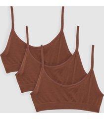 womens seamless nights 3-pc scoop neck bralette set - chestnut