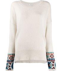 etro floral-cuff sweater - neutrals