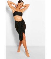 tie waist midi beach sarong, black