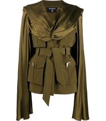 balmain twisted belted cape jacket - green