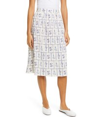 women's khaite floral print gathered skirt, size 8 - white