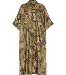 burberry printed oversized scarf poncho - green