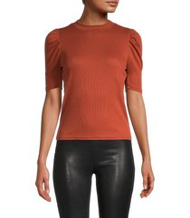 love ady women's puffed-sleeves top - black - size s