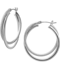 smooth & textured small double hoop earring in fine silver plate