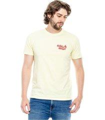 camiseta manga corta unicolor con estampado en frente y espalda color blue