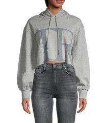 true religion women's cropped boxy hoodie - heather grey - size l