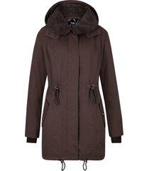 giacca invernale lunga con collo effetto peluche (marrone) - bpc bonprix collection