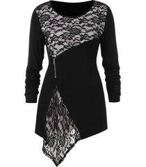 asymmetrical lace panel plus size t-shirt