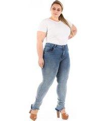 calça jeans plus size confidencial extra slin desfiada feminina