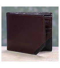 men's leather wallet, 'diagonal two-tone' (india)