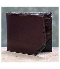 men's leather wallet, 'diagonal two-tone' (india)