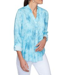 ruby rd. women's plus size woven boyfriend tie dye top