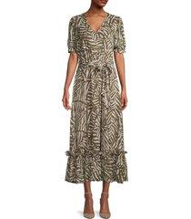 calvin klein women's printed maxi dress - caper multicolor - size 4