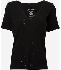 camiseta john john super v black malha preto feminina (preto, gg)