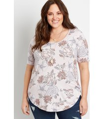 maurices plus size womens 24/7 floral flawless tee purple