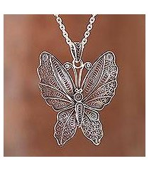 sterling silver filigree pendant necklace, 'nocturnal butterfly' (peru)