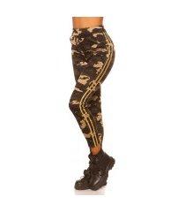 trendy camouflage leggings met contrast streep goud