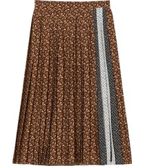 brown logo pleated skirt
