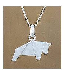 sterling silver pendant necklace, 'origami bull' (thailand)