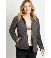 maurices womens gray quilted front sherpa hooded jacket
