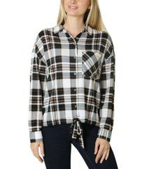polly & esther juniors' tie-front cozy plaid shirt