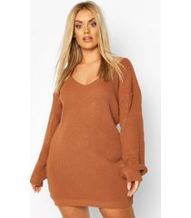 plus v-neck sweater mini dress, biscuit