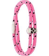 alexander mcqueen skull charm rope bracelet - pink