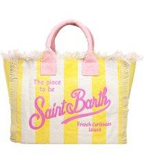 mc2 saint barth yellow vertical striped embroidered canvas bag