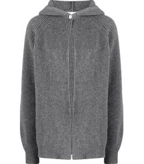 ami amalia ribbed-knit buttoned wool cardigan - grey