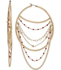 bcbgeneration extra large gold-tone multi-chain swag hoop earrings 3-3/4""